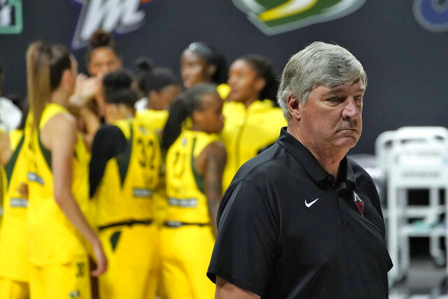 Las Vegas Aces head coach Bill Laimbeer reacts as he walks off the court while the Seattle Storm celebrate after defeating the Aces during Game 1 of basketball's WNBA Finals Friday, Oct. 2, 2020, in Bradenton, Fla. (AP Photo/Chris O'Meara)