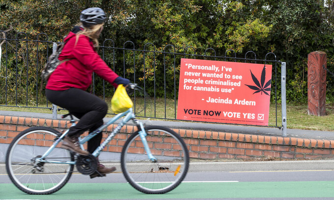 FILE -  In this Oct. 15, 2020, file photo, a cyclist rides past a sign in support of making marijuana legal in Christchurch, New Zealand. New Zealanders have voted on Friday, Oct. 30, 2020 in favor of legalizing euthanasia in a binding referendum. But in preliminary results they were rejecting a measure to legalize marijuana. (AP Photo/Mark Baker, File)