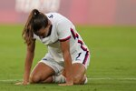 United States' Tobin Heath reacts after losing 0-3 against Sweden during a women's soccer match at the 2020 Summer Olympics, Wednesday, July 21, 2021, in Tokyo. (AP Photo/Ricardo Mazalan)