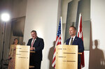 Danish Foreign Minister Jeppe Kofod, right and US Secretary of State Mike Pompeo give a joint press conference in Copenhagen, Denmark, Wednesday, July 22, 2020. Pompeo arrived in Denmark on Wednesday for meetings with the country's leaders that are likely to address the construction of a disputed gas pipeline which Washington opposes. (Thibault Savary/Pool Photo via AP)