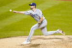 Tampa Bay Rays' Ryan Thompson delivers a pitch during the second inning of a baseball game against the New York Mets Monday, Sept. 21, 2020, in New York. (AP Photo/Frank Franklin II)