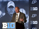 FILE - In this July 19, 2019, file photo, Purdue head coach Jeff Brohm responds to a question during the Big Ten Conference NCAA college football media days in Chicago. Big Ten is going to give fall football a shot after all. Less than five weeks after pushing football and other fall sports to spring in the name of player safety during the pandemic, the conference changed course Wednesday, Sept. 16, 2020, and said it plans to begin its season the weekend of Oct. 23-24.(AP Photo/Charles Rex Arbogast, File)