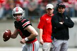 Ohio State's coach Ryan Day watches as quarterback Matthew Baldwin looks to pas during the spring NCAA college football game at the Ohio Stadium in Columbus, Ohio, Saturday April 13, 2019. (Brooke LaValley/The Columbus Dispatch via AP)
