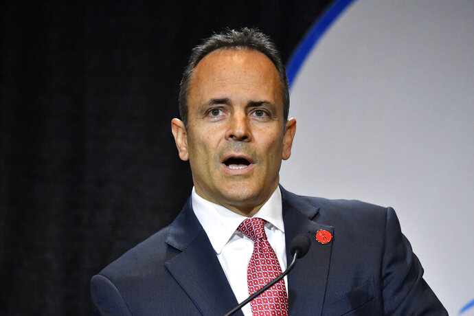 Kentucky Governor and Republican candidate Matt Bevin responds to a question during a gubernatorial debate in Paducah, Ky., Thursday, Oct. 3, 2019. (AP Photo/Timothy D. Easley)