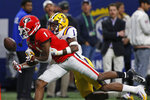LSU cornerback Kristian Fulton, right, breaks up a passintended for Georgia wide receiver George Pickens during the second half of an NCAA college football game for the Southeastern Conference championship, Saturday, Dec. 7, 2019, in Atlanta. (Joshua L. Jones/Athens Banner-Herald via AP)