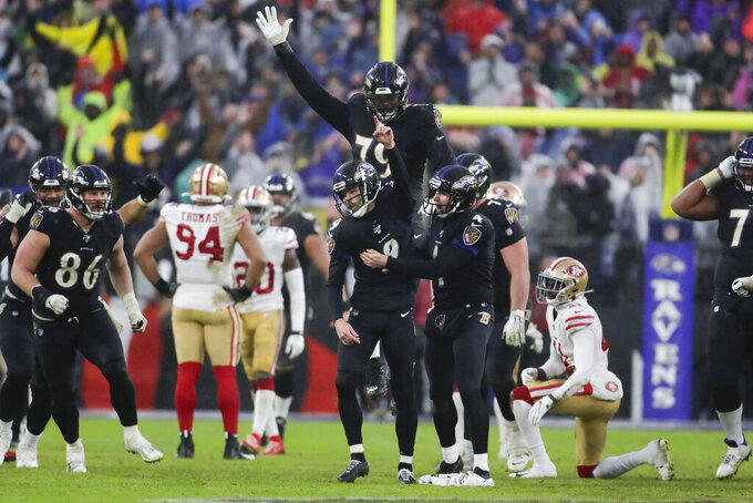 Baltimore Ravens kicker Justin Tucker (9) celebrates his game winning field goal against the San Francisco 49ers at the end of an NFL football game, Sunday, Dec. 1, 2019, in Baltimore, Md. Ravens won 20-17. (AP Photo/Julio Cortez)