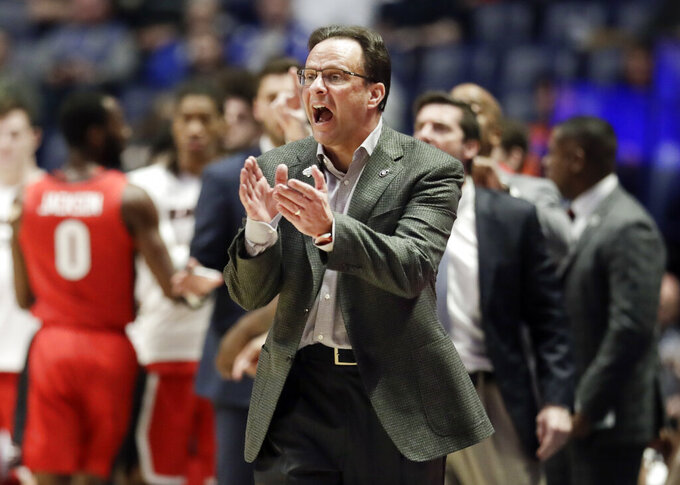 Georgia head coach Tom Crean yells to his players in the first half of an NCAA college basketball game against Missouri at the Southeastern Conference tournament, Wednesday, March 13, 2019, in Nashville, Tenn. (AP Photo/Mark Humphrey)