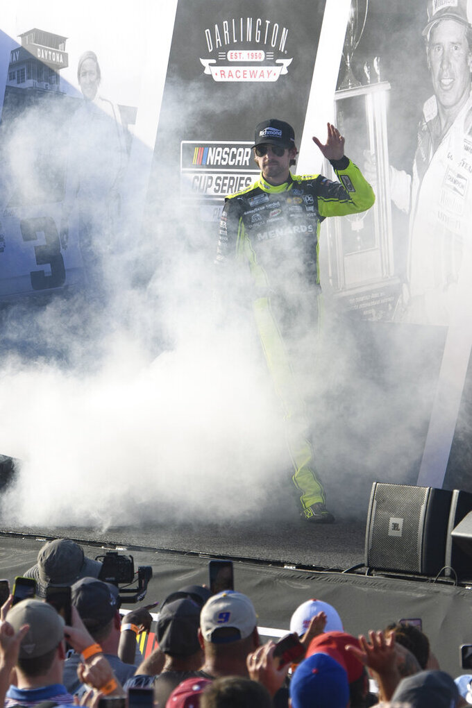 Ryan Blaney is introduced before a NASCAR Cup Series auto race Sunday, Sept. 5, 2021, in Darlington, S.C. (AP Photo/John Amis)