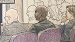 This courtroom sketch depicts former Minneapolis police officer Mohamed Noor, center, and his attorneys Thomas Plunkett, left, and Peter Wold, as they listen to Minneapolis police officer Matthew Harrity, as Harrity testifies Thursday, April 18, 2019, in Minneapolis, Minn., during the murder trial of Noor, Harrity's former partner, who fatally shot an unarmed Australian woman, Justine Ruszczyk Damond, in July, 2017, after she called 911 to report a possible sexual assault behind her home. Harrity testified Thursday that he heard a thump on the officers' squad car right before the shooting and feared a possible ambush. Harrity's testimony echoed Noor's claim that he was startled by a noise and feared ambush when he fired a single shot killing Damond. (Cedric Hohnstadt via AP)