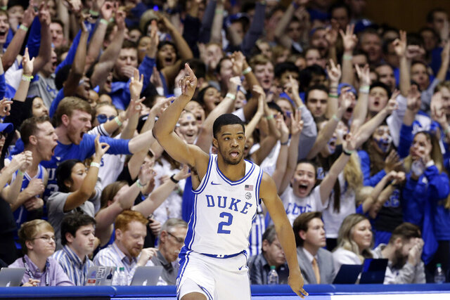 Duke guard Cassius Stanley (2) reacts following a basket against Virginia Tech during the first half of an NCAA college basketball game in Durham, N.C., Saturday, Feb. 22, 2020. (AP Photo/Gerry Broome)