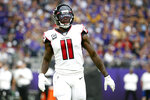 Atlanta Falcons wide receiver Julio Jones gets set for a play during the first half of an NFL football game against the Minnesota Vikings, Sunday, Sept. 8, 2019, in Minneapolis. (AP Photo/Bruce Kluckhohn)