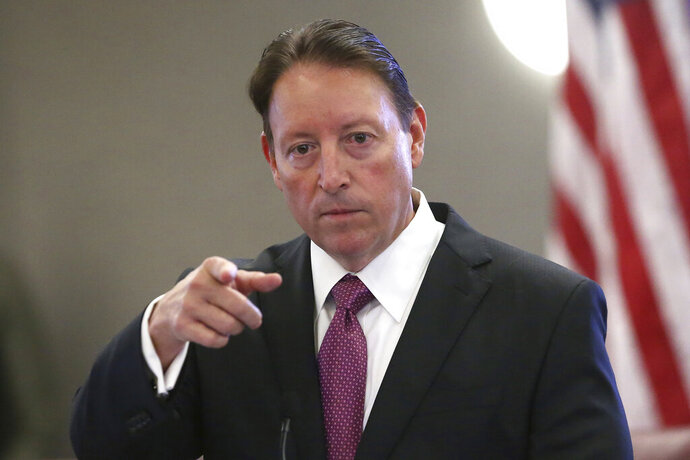FILE - In this Tuesday, October 29, 2019 file photo, Senate president Bill Galvano, R-Bradenton, speaks at pre-legislative news conference in Tallahassee, Fla. The 60-day Florida legislative session that begins Tuesday, Jan. 14, 2020,  will have lawmakers considering everything from coconut patties to a state budget expected to exceed $90 billion. Lawmakers are also expected to address abortion rights, private gun sales and environmental issues such as the rise in sea level. (AP Photo/Steve Cannon, File)
