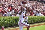 Alabama's DeVonta Smith reacts after scoring a touchdown during the first half of an NCAA college football game against South Carolina Saturday, Sept. 14, 2019, in Columbia, S.C. (AP Photo/Richard Shiro)