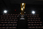 FILE - In this Sunday, Jan. 12, 2020, file photo, the trophy is displayed before a news conference for the NCAA College Football Playoff national championship game, in New Orleans. The more people who get angry with the College Football Playoff, the more likely it is to change. (AP Photo/David J. Phillip, File)