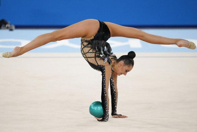 Alina Harnasko, of Belarus, performs during the rhythmic gymnastics individual all-around final at the 2020 Summer Olympics, Saturday, Aug. 7, 2021, in Tokyo, Japan. (AP Photo/Ashley Landis)