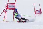 Slovakia's Petra Vlhova competes during an alpine ski, women's parallel slalom World Cup in St. Moritz, Switzerland, Sunday, Dec. 15, 2019. (AP Photo/Sergio Bisi)