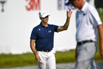 Cameron Tringale acknowledges the crowd after finishing the third round in the lead at 12 under par in the 3M Open golf tournament in Blaine, Minn., Saturday, July 24, 2021. (AP Photo/Craig Lassig)