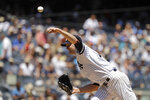 New York Yankees' J.A. Happ delivers a pitch during the first inning of a baseball game against the Toronto Blue Jays Saturday, July 13, 2019, in New York. (AP Photo/Frank Franklin II)