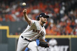 Houston Astros starting pitcher Gerrit Cole delivers to a Tampa Bay Rays batter during the first inning during Game 2 of a baseball American League Division Series in Houston, Saturday, Oct. 5, 2019. (AP Photo/Eric Christian Smith)