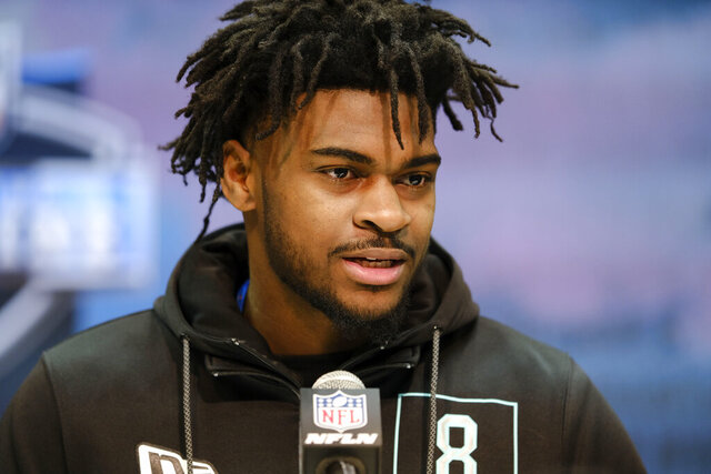 FILE - In this Feb. 28, 2020, file photo, Alabama defensive back Trevon Diggs speaks during a press conference at the NFL football scouting combine in Indianapolis. Diggs is a possible pick in the NFL Draft which runs Thursday, April 23, 2020, thru Saturday, April 25. (AP Photo/AJ Mast, File)