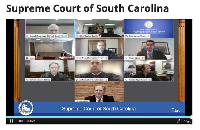 The South Carolina Supreme Court met Tuesday, May 12, 2020, in Columbia, S.C., for its first- ever oral arguments via teleconference. The Court heard concerns over potential difficulties of voting in this year's elections due to the coronavirus outbreak, as social distancing recommendations remain in place. (AP Photo/Meg Kinnard)