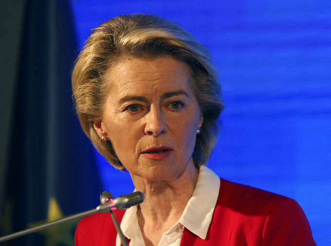 European Commission President Ursula von der Leyen speaks during a joint news conference with EU Council President Charles Michel after talks with Turkey's President Recep Tayyip Erdogan, in Ankara, Turkey, Tuesday, April 6, 2021. Top European Union officials met with Erdogan in Ankara on Tuesday, weeks after EU leaders agreed to boost trade and improve cooperation on migration following conciliatory steps from Turkey. (AP Photo/Burhan Ozbilici)