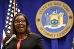 New York State Attorney General Letitia James announces that the state is suing the National Rifle Association during a press conference, Thursday, Aug. 6, 2020, in New York. James said that the state is seeking to put the powerful gun advocacy organization out of business over allegations that high-ranking executives diverted millions of dollars for lavish personal trips, no-show contracts for associates and other questionable expenditures. (AP Photo/Kathy Willens)