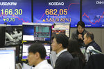 Currency traders watch monitors at the foreign exchange dealing room of the KEB Hana Bank headquarters in Seoul, South Korea, Wednesday, Jan. 22, 2020. Shares advanced in early Asian trading after a slide in U.S. stocks Tuesday as a virus outbreak in China rattled global markets. (AP Photo/Ahn Young-joon)