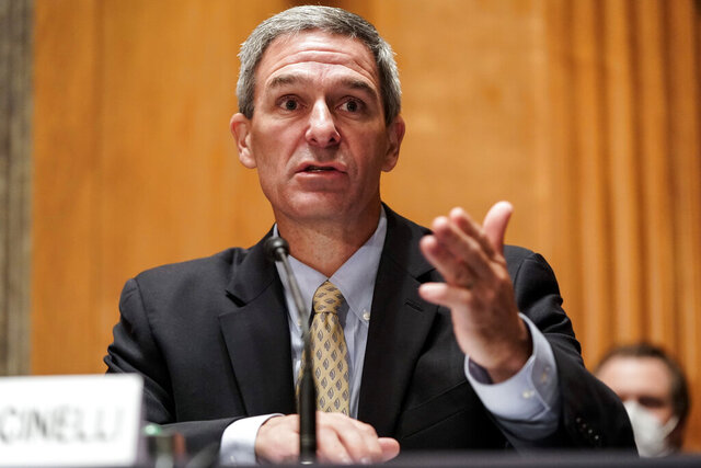 Department of Homeland Security Acting Deputy Secretary Ken Cuccinelli testifies during a Senate Homeland Security and Governmental Affairs Committee hearing on