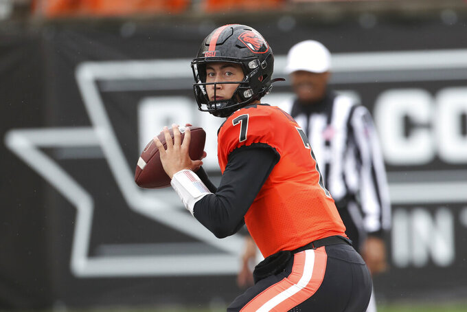 Oregon State quarterback Sam Vidlak (7) throws a pass against Idaho during the second half of an NCAA college football game, Saturday, Sept. 18, 2021, in Corvallis, Ore. Oregon State won 42-0. (AP Photo/Amanda Loman)