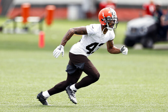 Cleveland Browns defensive back John Johnson III runs a drill during an NFL football practice at the team's training facility Wednesday, June 9, 2021, in Berea, Ohio. (AP Photo/Ron Schwane)