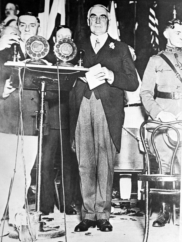 FILE-This 1918 file photo shows President Warren G. Harding delivering an address in St. Louis, Mo. The centennial of President Warren G. Harding's election was marked Monday in his home county in Ohio with a modest radio tribute rather than the grand museum and homestead re-opening envisioned before the pandemic. Harding, a Republican, was elected Nov. 2, 1920, his 55th birthday, succeeding Democrat Woodrow Wilson. He beat a fellow Ohio newspaper publisher, James Cox, on a platform of restoring normalcy after World War I and the 1918 influenza pandemic. (AP Photo, File)