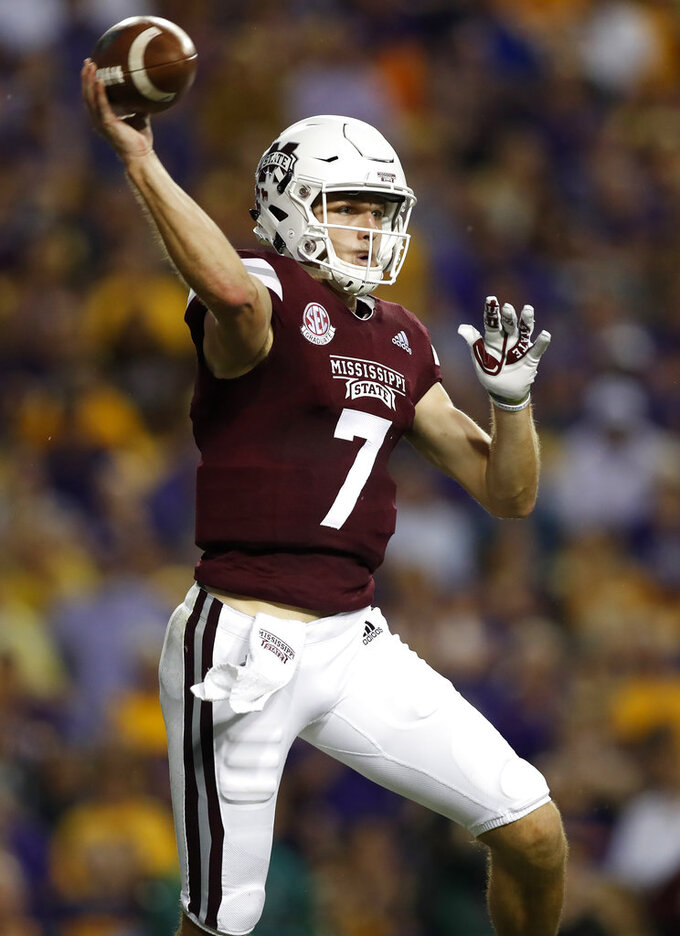 Mississippi State quarterback Nick Fitzgerald (7) throws the ball during an NCAA college football game against LSU in Baton Rouge, La., Saturday, Oct. 20, 2018. (AP Photo/Tyler Kaufman)