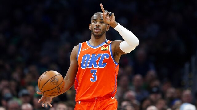 In this March 8, 2020, photo, Oklahoma City Thunder's Chris Paul plays against the Boston Celtics during an NBA basketball game in Boston. Making it safe for America's professional sports teams to start playing games is one thing. Making sure athletes are in game shape is another. Experts say nothing should be rushed. Athletes in the NBA, NHL and Major League Baseball all indicate that a few weeks of training is necessary before any games. (AP Photo/Michael Dwyer)