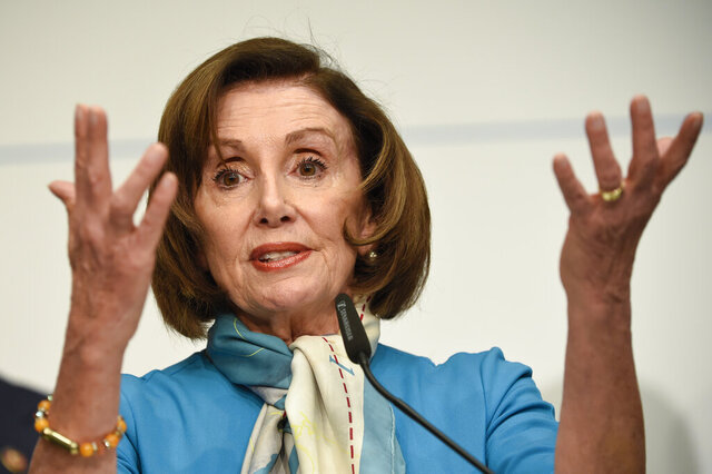 FILE - In this Sunday, Feb. 16, 2020 file photo, U.S. Speaker of the House Nancy Pelosi, D-Calif, attends a news conference during the Munich Security Conference in Munich, Germany. On Friday, Feb. 21, 2020, The Associated Press reported on a misleadingly compiled video circulating online incorrectly asserting that Pelosi lashed out at CNN host Christiane Amanpour during an interview about U.S. President Donald Trump's acquittal after being impeached. The video relies heavily on a February interview in Munich. A number of altered videos have targeted Pelosi in the past year. (AP Photo/Jens Meyer)