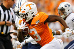 Tennessee running back Eric Gray (3) carries against BYU during a NCAA football game at Neyland Stadium on Saturday, Sept. 7, 2019 in Knoxville, Tenn.(C.B. Schmelter/Chattanooga Times Free Press via AP)