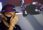 Red Bull driver Max Verstappen of the Netherlands attends a media conference at the Hungaroring racetrack in Mogyorod, Hungary, Thursday, July 29, 2021. The Hungarian Formula One Grand Prix will be held on Sunday. (Florion Goga/Pool via AP)