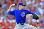 Chicago Cubs' Kyle Hendricks throws in the first inning inning of a baseball game against the Cincinnati Reds, Saturday, Aug. 10, 2019, in Cincinnati. (AP Photo/Aaron Doster)