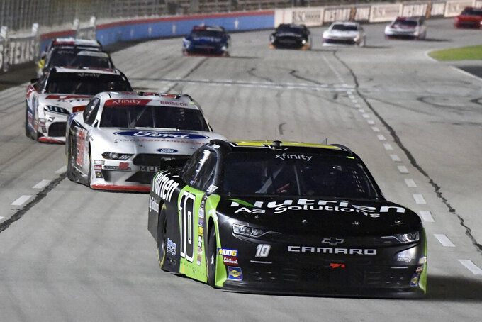 Ross Chastain heads into Turn 1 during the NASCAR Xfinity Series auto race at Texas Motor Speedway in Fort Worth, Texas, Saturday, Nov. 2, 2019. (AP Photo/Larry Papke)