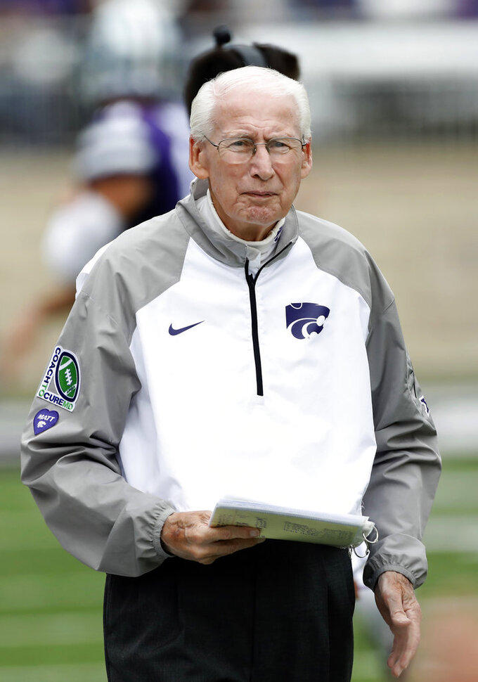 Kansas State head coach Bill Snyder looks on from the sideline at the start of a college football game against Texas in Manhattan, Kan., Saturday, Sept. 29, 2018. (AP Photo/Colin E. Braley)