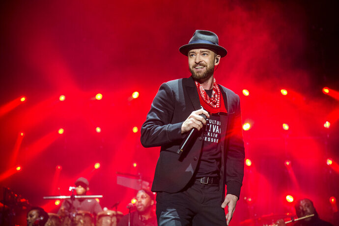 FILE - In this Sept. 23, 2017 file photo, Justin Timberlake performs at the Pilgrimage Music and Cultural Festival in Franklin, Tenn. Timberlake's songwriting chops will be honored next month. The pop star will receive the Contemporary Icon Award from the Songwriters Hall of Fame on June 13, 2019, at the organization's 50th annual induction ceremony in New York. Timberlake is just the second person to receive the honor; Lady Gaga earned it in 2015. Songwriters Hall said the award is given to a