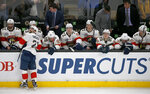 Florida Panthers players react on the bench as they fall behind late during the third period of an NHL hockey game against the Boston Bruins, Thursday, March 7, 2019, in Boston. (AP Photo/Mary Schwalm)