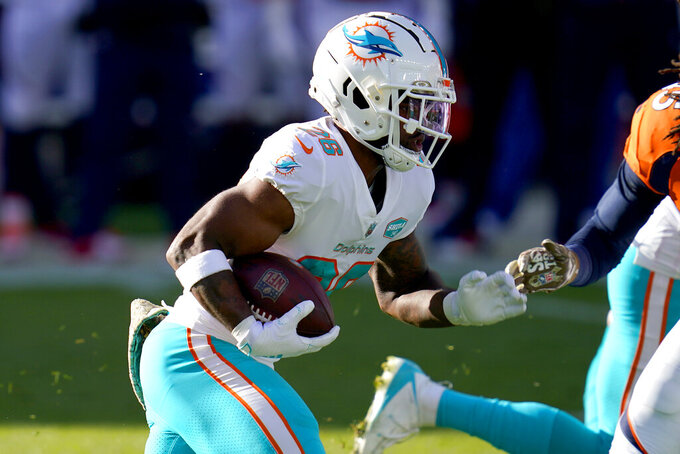 Miami Dolphins running back Salvon Ahmed (26) runs during the first half of an NFL football game against the Denver Broncos, Sunday, Nov. 22, 2020, in Denver. (AP Photo/David Zalubowski)