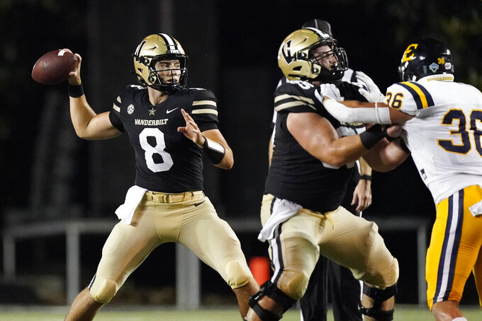 Vanderbilt quarterback Ken Seals (8) passes against East Tennessee State in the first half of an NCAA college football game Saturday, Sept. 4, 2021, in Nashville, Tenn. (AP Photo/Mark Humphrey)