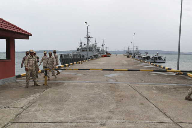 Cambodian navy troop members walk at Ream Naval Base in Sihanoukville, southwestern of Phnom Penh, Cambodia on July 26, 2019. Cambodia's government on Monday, Oct. 5, 2020, officially denied suggestions that its demolition of a U.S.-funded facility at one of its naval bases is a signal that China will be granted basing privileges there, saying the work only involves planned infrastructure improvements.(AP Photo/Heng Sinith)