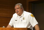 CORRECTS FIRST NAME TO MACKENZIE WITH LOWERCASE K - Salt Lake City assistant Police Chief Tim Doubt speaks during a news conference Monday, June 24, 2019, in Salt Lake City. Doubt said that the Lyft driver who dropped off 23-year-old Mackenzie Lueck says she didn't seem in distress when she met the person on June 17 at about 3 a.m. Doubt declined to describe the person's gender and says they don't know who it is. (AP Photo/Rick Bowmer)