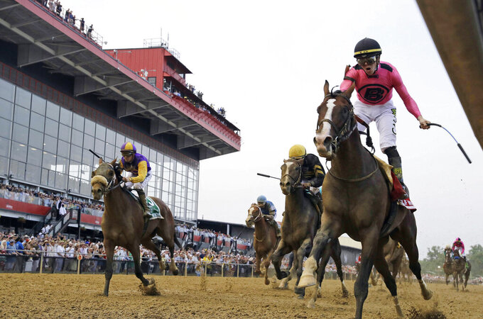 "FILE - In this May 18, 2019, file photo, jockey Tyler Gaffalione, right, reacts aboard War of Will, as they crosses the finish line first to win the Preakness Stakes horse race at Pimlico Race Course, in Baltimore. A measure in Maryland to redevelop Pimlico Race Course to keep the second leg of horse racing's Triple Crown in Baltimore is scheduled for a hearing before state lawmakers.  The ""Racing and Community Development Act of 2020"" is set for a hearing before the House Ways and Means Committee on Tuesday, Feb. 25, 2020. (AP Photo/Steve Helber, File)"
