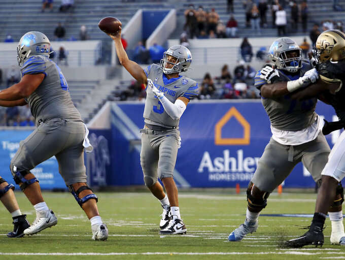 Memphis quarterback Brady White (3) throws a pass during an NCAA college football game against Central Florida, Saturday, Oct. 17, 2020, in Memphis, Tenn. (Patrick Lantrip/Daily Memphian via AP)