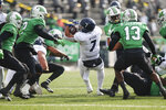 Rice's Jordan Myers (7) spins forward for a first down during an NCAA college football game against Marshall on Saturday, Dec. 5, 2020, in Huntington, W.Va.  (Sholten Singer/The Herald-Dispatch via AP)