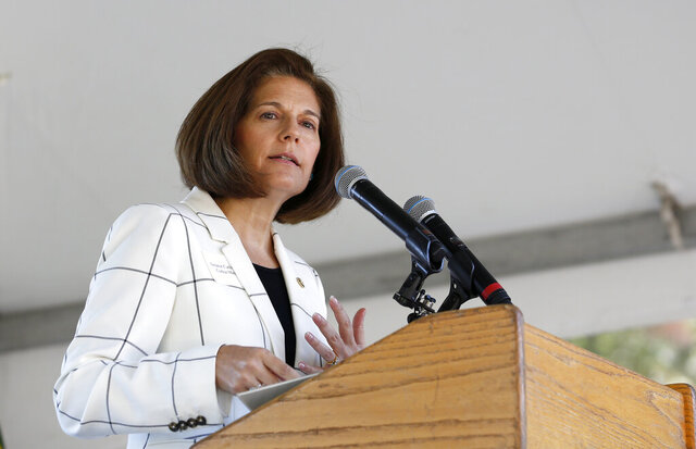 FILE - In this Aug. 20, 2019, file photo Sen. Catherine Cortez Masto, D-Nevada, speaks at the 23rd Annual Lake Tahoe Summit, Tuesday, at South Lake Tahoe, Calif. Cortez Masto of Nevada said Thursday, May 28, 2020, that she's not interested in serving as running mate to presumptive presidential nominee Joe Biden. Cortex Masto said in a statement that she supports the former vice president and will work tirelessly to get him elected but does not want to join the presidential ticket. (AP Photo/Rich Pedroncelli, File)